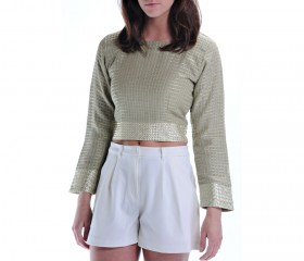 Linen Crop Top With Gold Detail