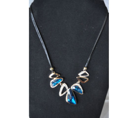 Aqua Blue and Crystal Necklace