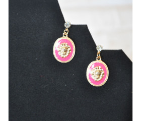 Gold Vintage Dripping Lion Earrings – Pink