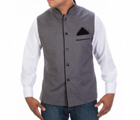 Grey Preppy Fitted Vest